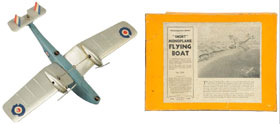Underside view of the top airplane in Morphy's sale: Britains Short Bros. flying boat monoplane with 14.25-inch (36.2 cm.) wingspan, Bakelite and heavy tin, made 1936 only, one of the rarest and most valuable airplane toys ever made, est. $12,000-$16,000. Morphy Auctions image.