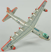 Yonezawa B-36 tin bomber with 26-inch (66 cm.) wingspan, est. $600-$900. Morphy Auctions image
