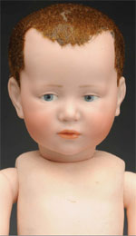 Kammer & Reinhardt K*R 101X German bisque character doll, est. $5,000-$6,500. Morphy Auctions image.
