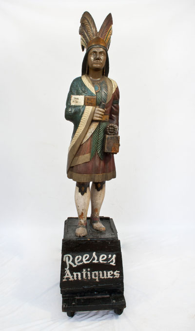 Samuel Robb 19th-century cigar store figure, 77 inches tall, the greeter at Reese's Antiques in Philadelphia since the 1940s. Est. $40,000-$60,000. Material Culture image.