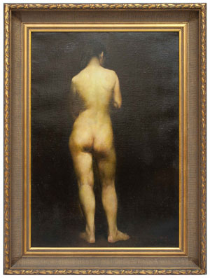 Guo Runwen (Chinese, b. 1955-), 'Standing Nude with Back View,' oil on canvas, 31½ x 21½ in. Est. $30,000-$40,000. Material Culture image.
