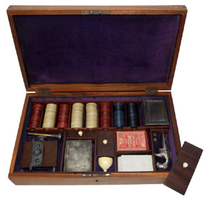 Cased circa-1870 faro set, includes engraved Moore's patent Derringer. Mosby & Co. image.