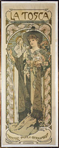 1899 original Alphonse Mucha poster of Sarah Bernhardt in La Tosca, untouched condition. Mosby & Co. image.