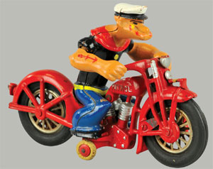 Hubley Popeye Patrol cast-iron motorcycle toy, $19,550. Bertoia Auctions image.