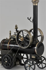 Marklin rolling steam engine with foldable stack, double flywheel, other desirable details, $8,050. Bertoia Auctions image.