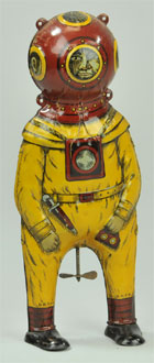 Deep Sea Diver lithographed tinplate wind-up toy, German, $5,750. Bertoia Auctions image.