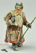 Hand-painted spelter Santa Claus still bank, German, $8,625. Bertoia Auctions image.