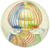 Five-color single-pontil birdcage marble, est. $3,000-$5,000. Morphy Auctions image.