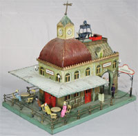 Circa-1905 Marklin 'Café' train station with many papier-mache figures, ex Ward Kimball collection. Est. $18,000-$25,000. RSL Auction Co.