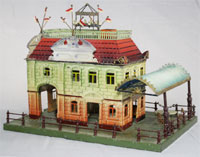 Gebruder Bing 1 gauge train station with patio, circa 1910. Est. $4,000-$6,000. RSL Auction Co.