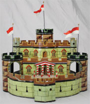 Marklin three-tiered castle, circa 1895, parade ground moves when connected to steam engine. Est. $14,000-$20,000. RSL Auction Co.
