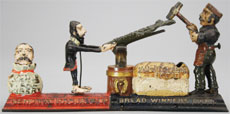 J. & E. Stevens Bread Winners cast-iron mechanical bank, circa 1886. Est. $26,000-$32,000. RSL Auction Co.