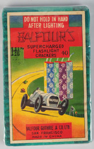 Balfour's 40-pack firecrackers, manufactured by Balfour Guthrie & Co. Ltd., San Francisco. Mint condition. Est. $800-$1,200. Morphy Auctions image.