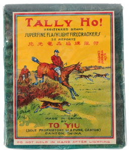 Tally Ho 32-pack firecrackers, manufactured by To Yiu. Est. $600-$800. Morphy Auctions image.