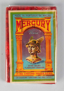 Mercury 16-pack firecrackers, manufactured by Hing Cheong Yeung Hong, Portuguese Macau. Near-mint condition. Est. $500-$1,000. Morphy Auctions image.