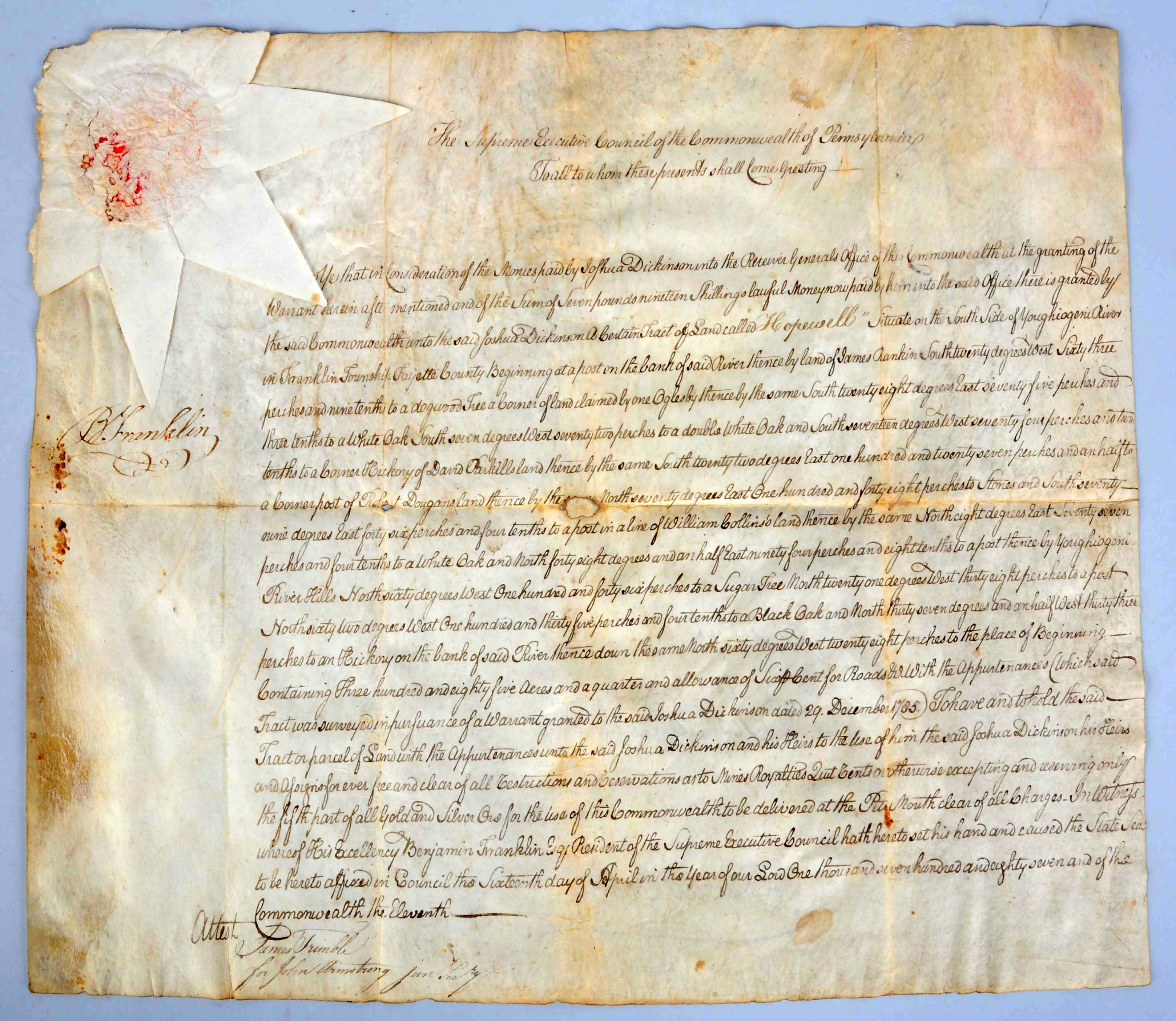 1787 land deed signed by Benjamin Franklin