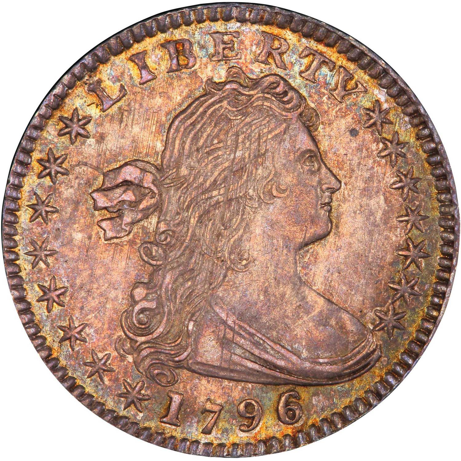 H10C 1796/5 PCGS MS64+ CAC, provenance from the Eliasberg collection, $92,000. Legend-Morphy image.