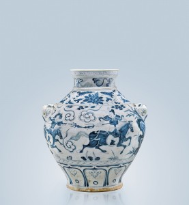 14th-century Yuan Dynasty blue and white ovoid porcelain jar