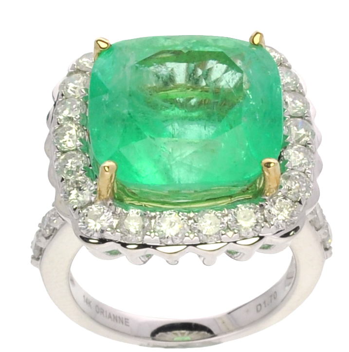 12-carat emerald and diamond ring. Government Auction image.