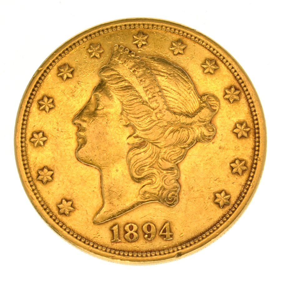 1894-S $20 U.S. Liberty gold coin. Government Auction image.