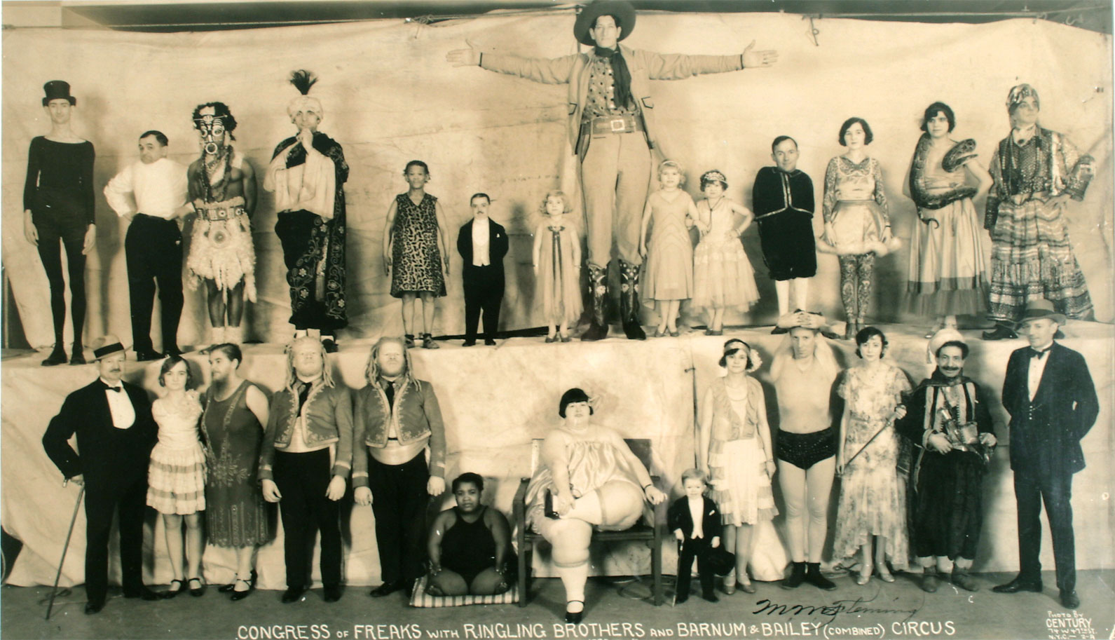 Edward J. Kelty (American, 1888–1967) panoramic photo of Ringling Bros. Barnum & Bailey 'Congress of Freaks.' Ross Art Group image.