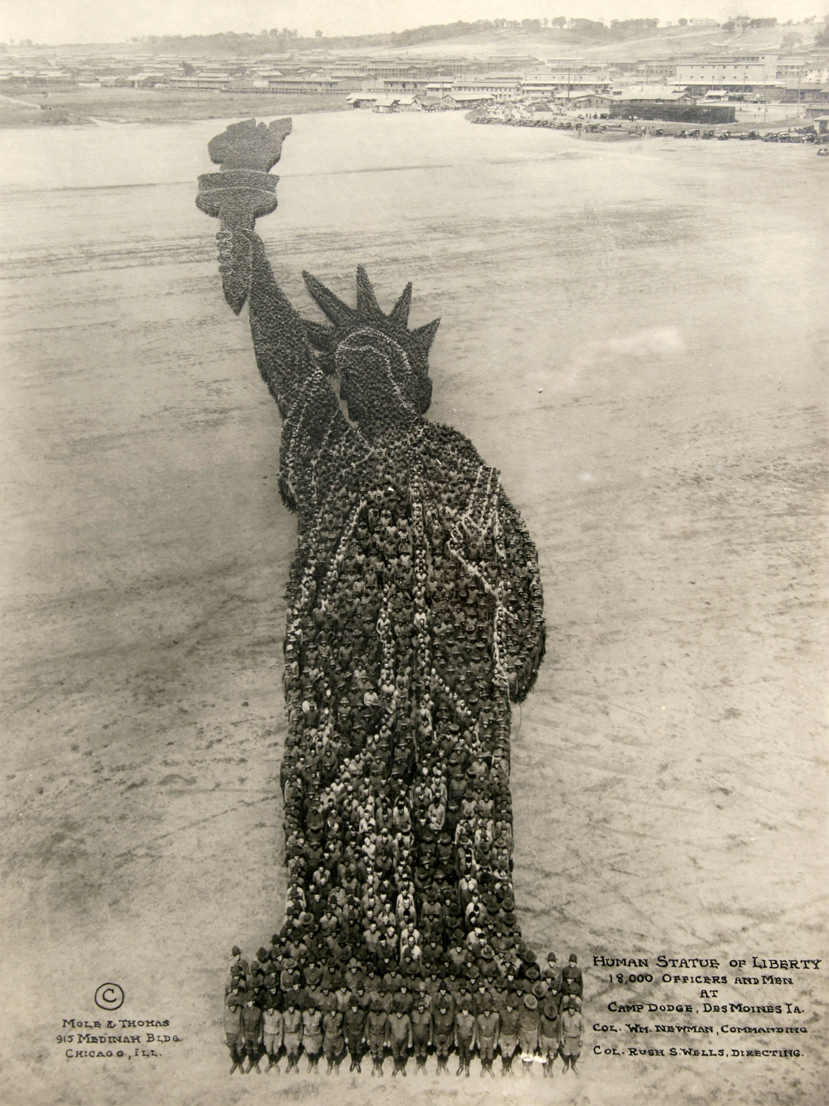 Mole & Thomas 'Human Statue of Liberty' photograph formed by 18,000 officers and enlisted men at Camp Dodge, Des Moines, Iowa. Ross Art Group image.