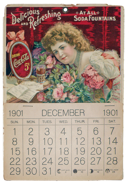 Embossed and chromolithographed 1901 Coca-Cola calendar featuring model Hilda Clark. Mosby & Co. image