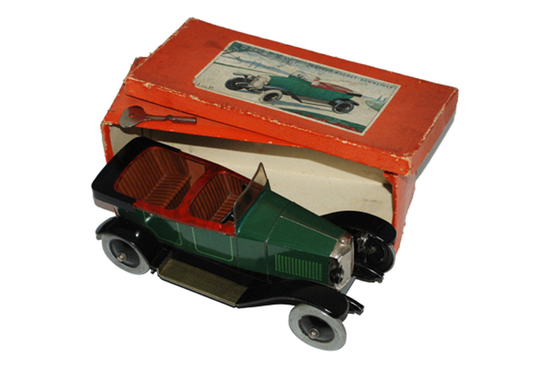 JEP (French) Torpedo Rocket open car, tin, original box, est. $3,000-$4,000. RSL Auction Co. image.