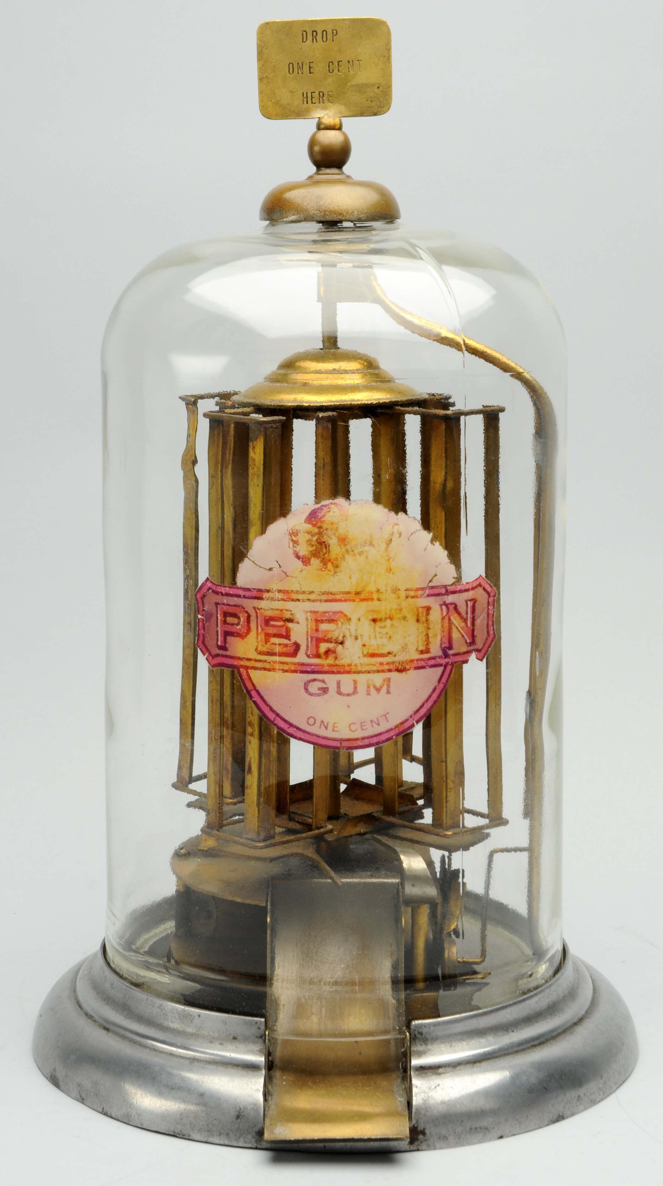 Buffalo Pepsin Gum 1-cent vending machine with brass marquee. Est. $5,000-$8,000. Morphy Auctions image.