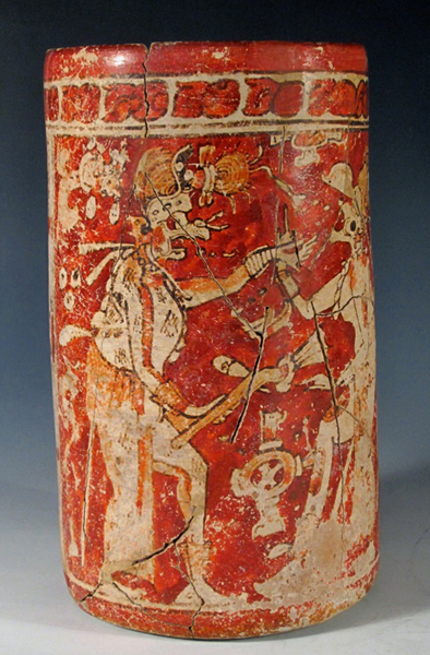 Important Mayan polychrome cylinder, est. $5,000-$10,000. Antiquities Saleroom image.