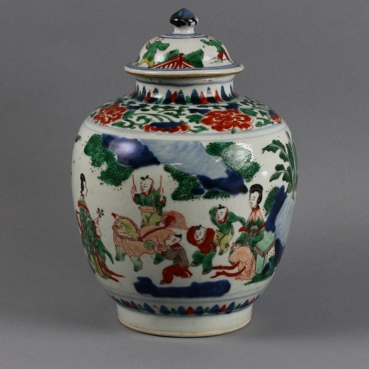 "Chinese Chongzheng (1628-1643) transitional ""Wucai boys"" covered jar, 11½in, similar to an example that sold for HK$275,000 at Christie's May 2012 sale in Hong Kong. Est. $3,000-$5,000. Manatee Galleries image."