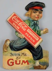 1914-1916 Coca-Cola Gum cardboard cutout with Dutch boy image