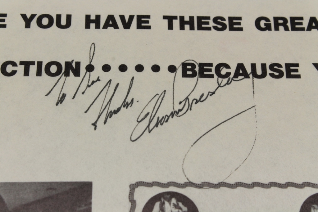 Elvis Presley inscription and autograph on record-album sleeve. Est. $300-$500.