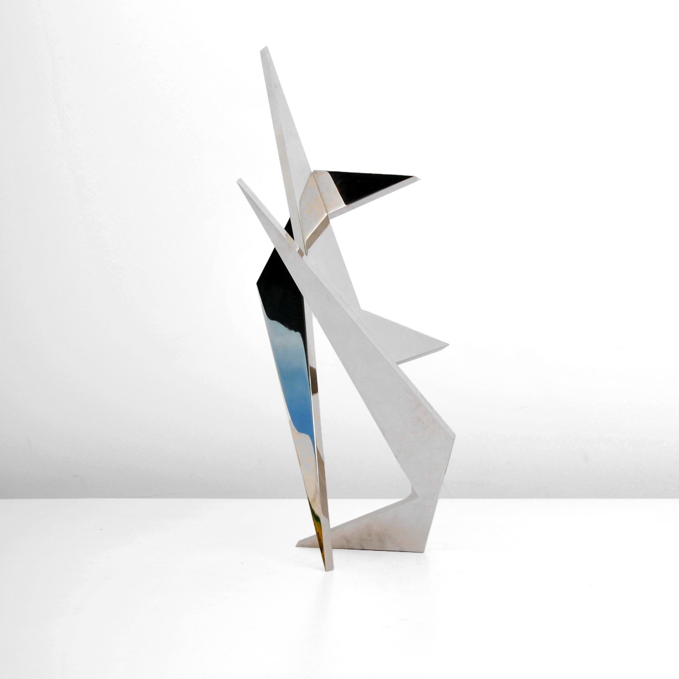 Larry Mohr (American, 1921-2013), stainless steel sculpture, signed, dated 1999. Est. $1,500-$2,500.