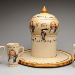 Earl Hires syrup dispensing bowl with platter and three additional tall mugs